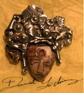 A silver and stone pendant by David Godínez, jeweler, San Miguel de Allende
