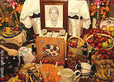 A Mexican Day of the Dead ofrenda, or altar