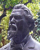 A bust of Ignacio Ramirez El Nigromante at Bellas Artes in San Miguel de Allende. Mexico