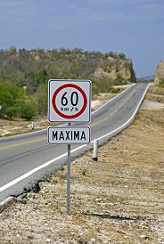 Speed limit sign on a Mexican highway, traveling to San Miguel de Allende