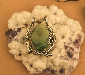 Silver and stone pendant by San Miguel jewelry artist David Godinez