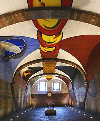 The unfinished and recently restored murals by David Alfaro Siqueiros in Bellas Artes art school, San Miguel de Allende.