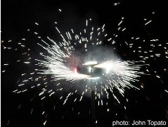 A Mexican Castillo fireworks explodes in San Miguel de Allende
