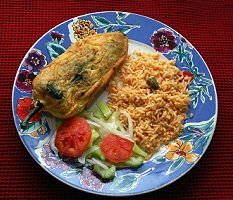 Chiles Rellenos on a Blue Plate, Mexican food, San Miguel de Allende