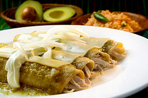 A yummy plate of Mexican enchiladas verdes