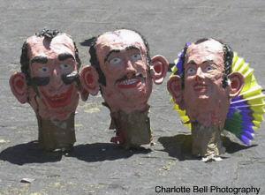 Disembodied heads of Judas figures, Easter in San Miguel de Allende