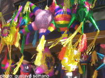 Christmas Pinatas in a Market Stall