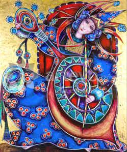 The Cellist, painting by Toller Cranston, San Miguel de Allende