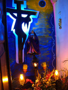 A creative, backlit home altar for the Virgen de Sorrows, Holy week, San Miguel de Allende, Mexico